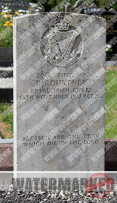 Rifleman Courtney grave in Brookside Ahoghill. He died in late 1917.