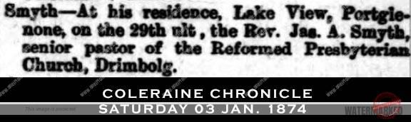 Death of Reverend Smyth of Drimbolg Church 1873