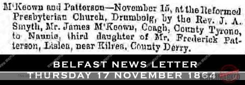 drimbolg marriage 1864 - mckeown & patterson