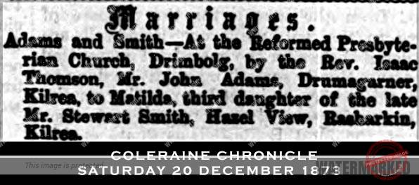 Ireland Drimbolg marriage 1873 - John Adams & Matilda Smith