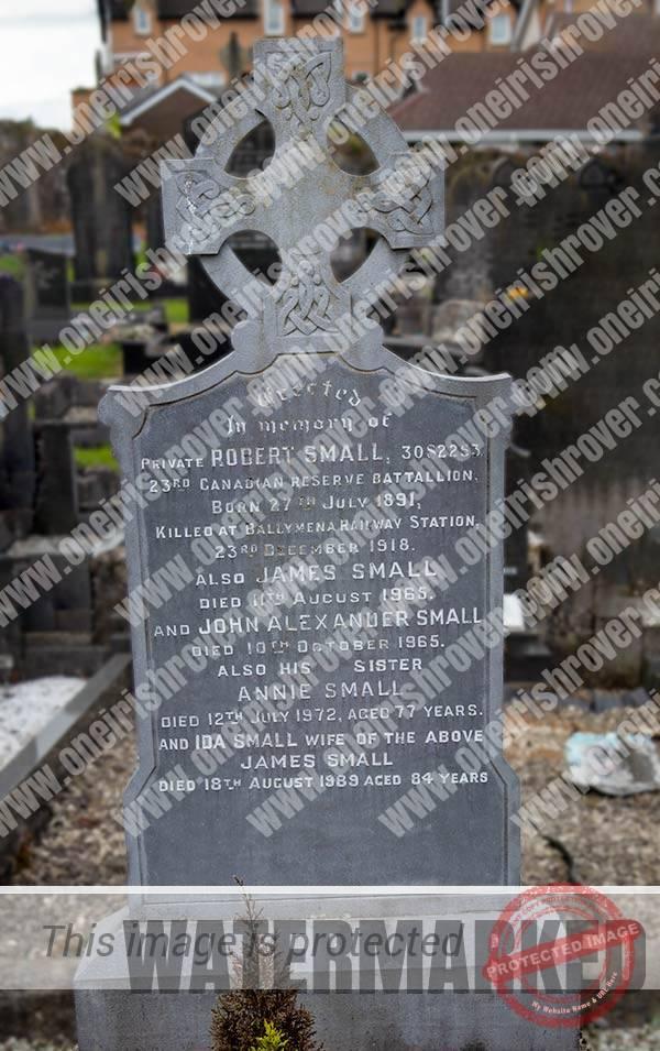 Robert Small's gravestone at Trinity churchyard in Ahoghill