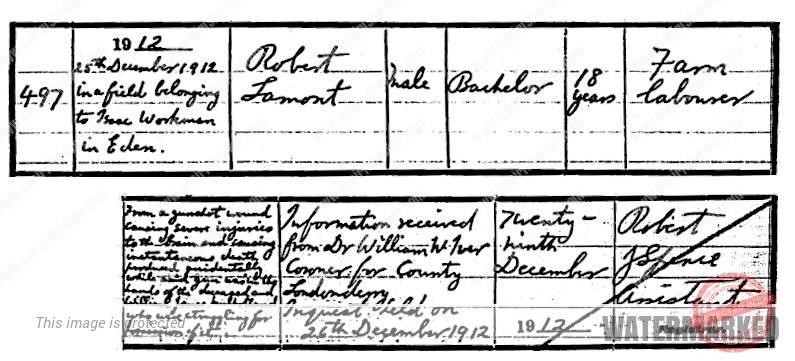 robert lamont death 1912