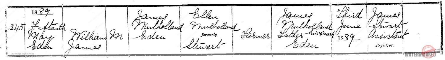 William James Mulholland birth record